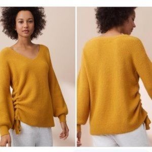 Lou & Grey mustard yellow sweater with tie Ruching
